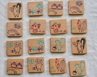 woodland memory game - natural wood toy