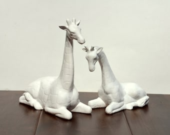 SALE: Vintage Ceramic Pair of Giraffes Nursery Decor Home Accessories , White