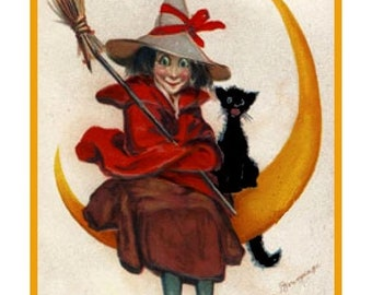 Vintage Halloween Witch on Broom DIGITAL Counted Cross Stitch Pattern Chart