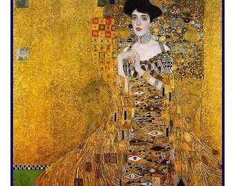 SUMMER SALE Portrait of Adele Bloch-Bauer inspired by Art Nouveau Artist Gustav Klimt Counted Cross Stitch Pattern