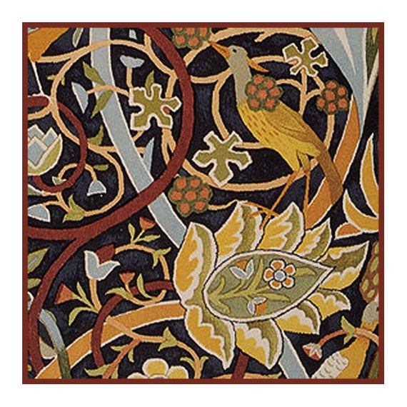 William Morris Bullerswood detail Counted Cross Stitch Chart Pattern