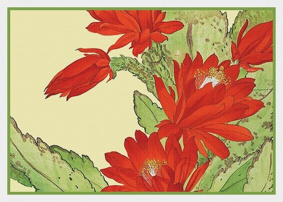 Asian Flower Botanical Tanigami Azaleas Count Cross Stitch Chart Pattern