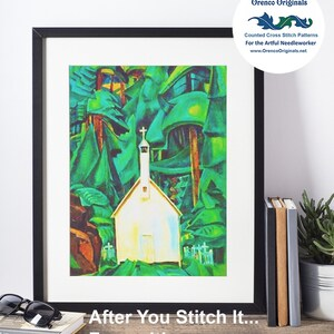 Sunset Fir Trees Landscape by Canadian Lawren Harris Counted X Stitch Pattern