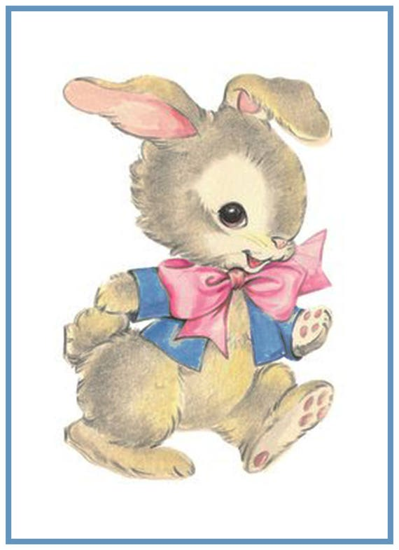 Orenco Originals Vintage Child Hugging Baby Bunny Easter Counted Cross Stitch Pattern