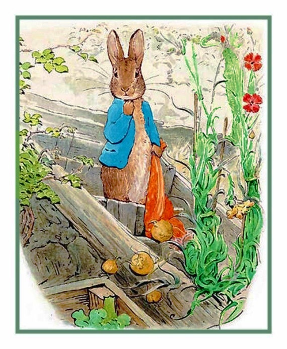 Peter Rabbit Mails a Letter by Beatrix Potter Counted Cross Stitch Pattern