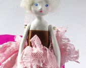Apolline at the grand ballet - Original Handmade Paper Clay Doll - One Of A Kind
