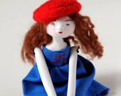 Contemporary Art Doll - Marcelline the funny girl - Contemporary Handmade Paper Clay Doll - One Of A Kind