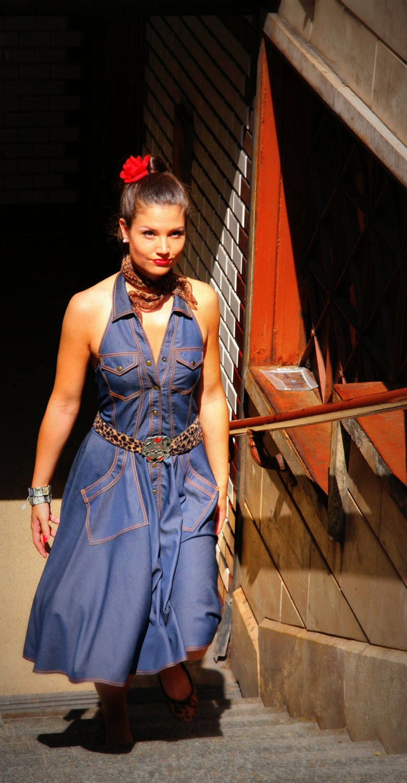Vintage Western Wear Clothing, Outfit Ideas     Denim Rockabilly Dress: vintage style / pin-up / rockabilly sleeveless knee-high denim dress by TiCCi Rockabilly Clothing $108.00 AT vintagedancer.com