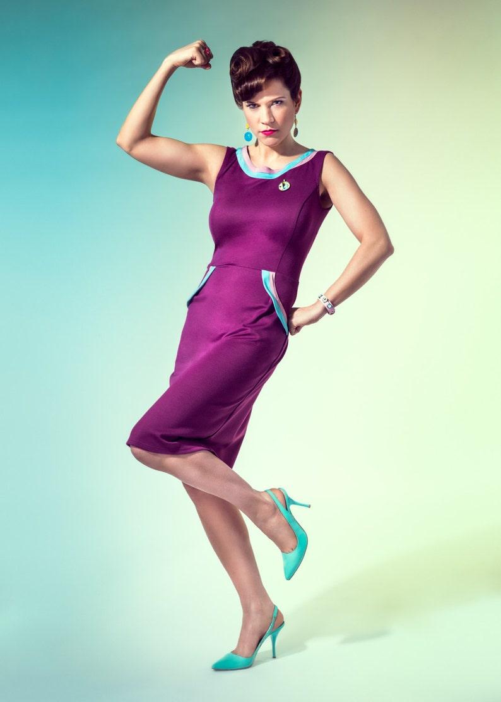 16c4cf29820a8 Super Natasa robe : vintage style pin up / violet rockabilly crayon robe de  vêtements Rockabilly TiCCi