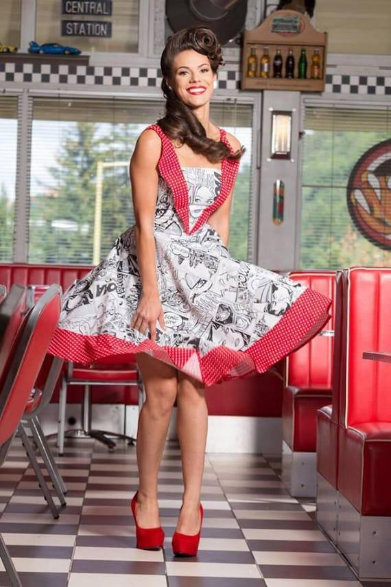ab553361b23 Rockabilly Comic Dress: vintage style / pin-up / rockabilly comic print  dress by TiCCi Rockabilly Clothing