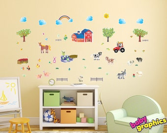 Large Farm & Animals wall stickers Fabric and Vinyl available (barn, tractor, cows, hens, sheep) - removable (by babygraphics)