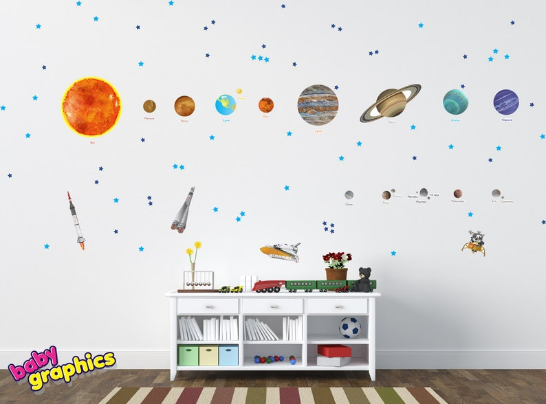 large solar system wall decals removable vinyl & fabric all | etsy