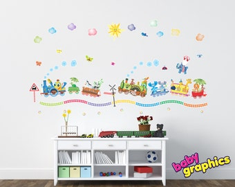 Large Zoo Train wall decals (turtle, zebra, panda, elephants, ostrich, the lion king) * vinyl and fabric decal available * - by babygraphic