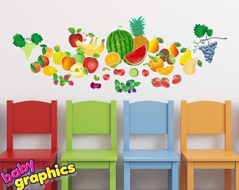 Fruits removable wall decals (watermelon, apples, grapes, oranges, pears, cherries etc) - babygraphics