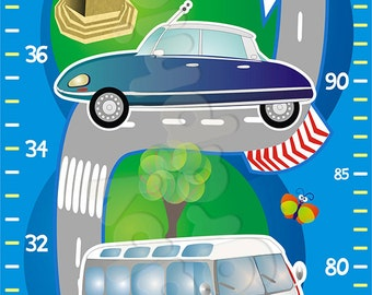 Cars Growth Height Chart Wall Sticker Removable - by babygraphics