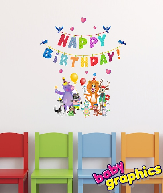 happy birthday with animals wall stickers / decals set | etsy