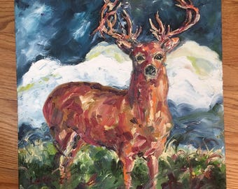 Stag Buck original signed oil painting