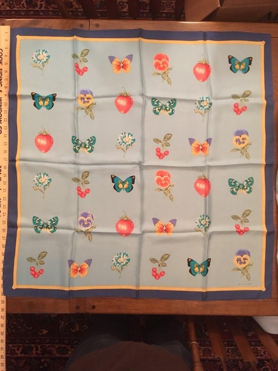 Echo scarf fabulous butterflies strawberries cher… - image 1