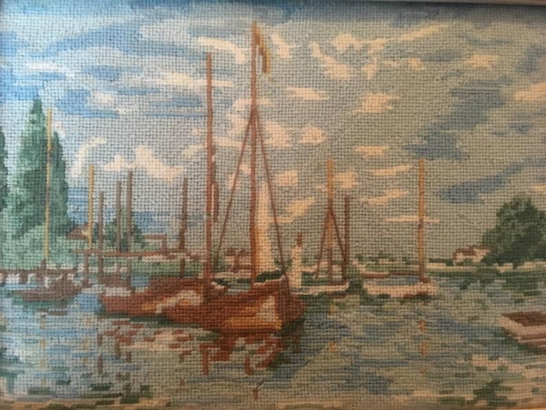 Sailboats in harbor needlepiont vintage