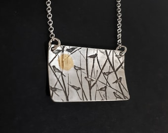 Gold and silver bird necklace, sterling and gold bird jewelry, branch necklace, keum boo, nature inspired mixed-metal jewelry, sun necklace