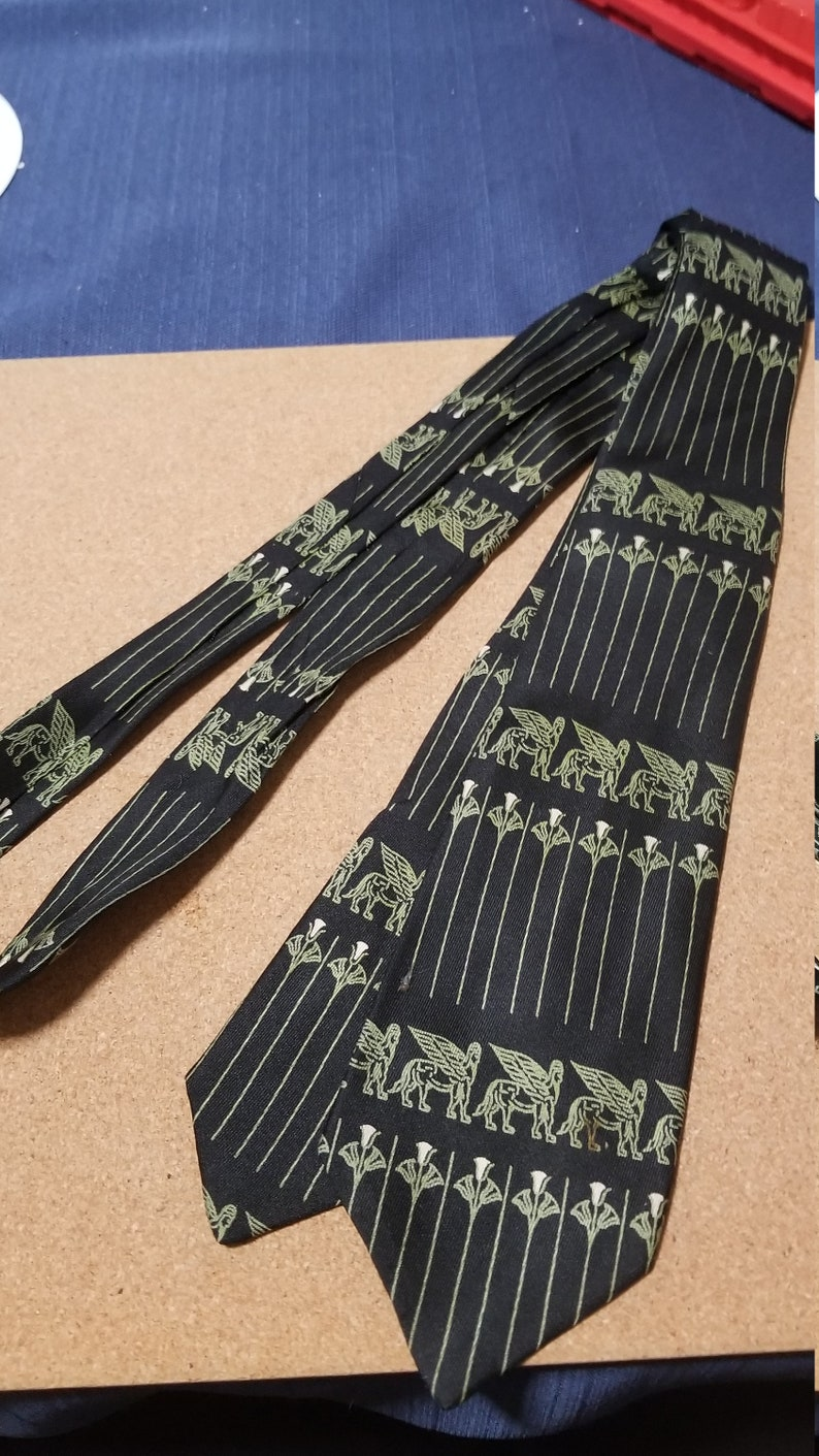 Mid century Pegasus gas horse french silk tie black