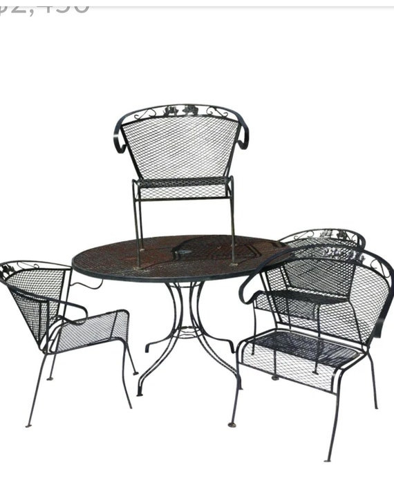 russell woodard wrought iron patio set 5 pc table chair etsy