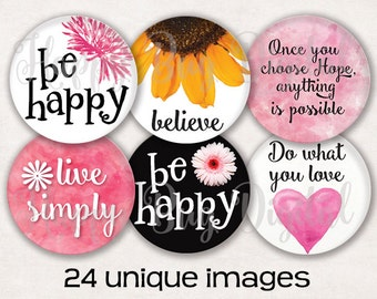 """Sayings #1 Graphics Digital Collage Sheet - 1"""" Round Circles (Actual Size 1.06"""") for Pendants INSTANT DOWNLOAD"""