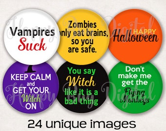 """Halloween Sayings Digital Collage Sheet - 1.313 inch Round Circles for 1"""" Inch Buttons Magnets Badge Reels INSTANT DOWNLOAD"""