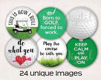 """Golf Digital Collage Sheet - 1.313 inch Round Circles for 1"""" Inch Buttons Magnets Badge Reels INSTANT DOWNLOAD"""