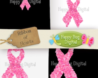 Ribbon of Hearts Breast Cancer Awareness Digital Paper Pack 6 Sheets Plus Png File Commercial Use OK - INSTANT DOWNLOAD