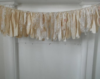 bohemian farmhouse rag garland living room decor cottage chic long garland romantic chic french country garland aged cream decor 31 inch