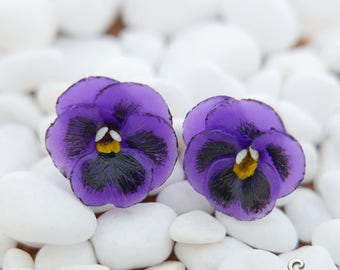 Purple Pansy Earrings - Gifts for her