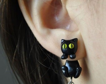 Shirley lim on etsy black cat earrings with surgical steel posts gift for her woman gift fandeluxe Images