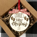 Baby's First Christmas Ornament /Personalized Christmas Ornament / Engraved Christmas Ornament / Gift for New Moms / Gift for Grandparent