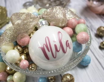 Custom Christmas Ornaments - Christmas Ornament - Personalized Ornaments - Rose Gold Ornament - Monogrammed ornaments -