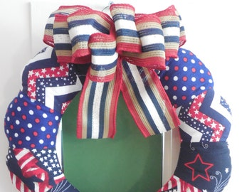 Red, White and Blue Fabric Mini Wreath