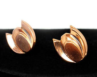 Copper Tulip Earrings - Renoir, 1950s, Vintage Earrings