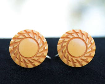 Butterscotch Bakelite Earrings, Nicely Carved, Bakelite Jewelry