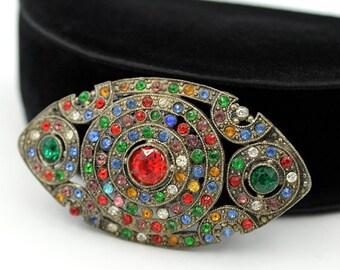 Art Deco Brooch with Multicolored Rhinestones, Vintage Brooches