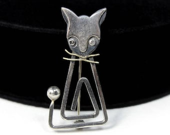 Modernist Sterling Cat Brooch by Delfino, Taxco, Mexico Silver