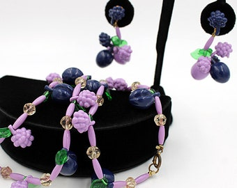 Fruit Salad Necklace and Earring Set, ca. 1960s, Vintage Jewelry Sets
