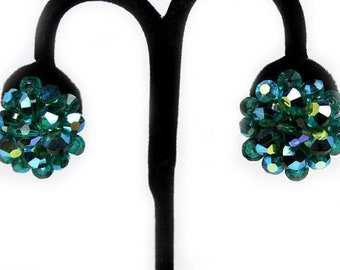 Teal Cluster Earrings, AB Crystal Beads, 1950s, Vintage Earrings