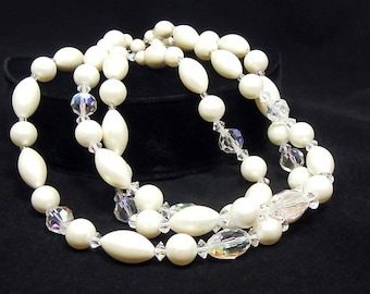 Laguna 3-Strand Necklace, AB Crystal Beads and Faux Pearls, Vintage Necklaces