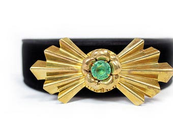 Art Deco Brass Brooch with Green Plastic Cabochon, ca. 1940s, Vintage Brooches