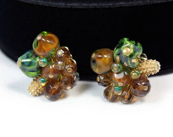 Alice Caviness Cluster Earrings - Fall Colors, Givre Glass Beads, 1950s, Vintage Earrings