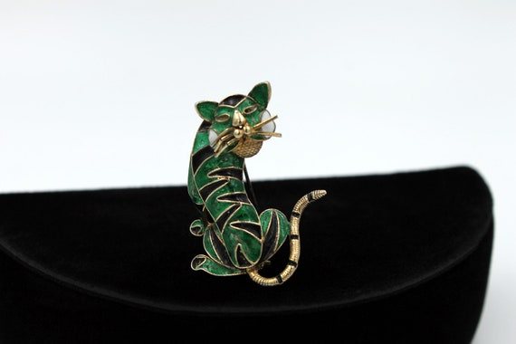 Chinese Tiger Brooch, 800 Silver, ca. 1930s - image 3