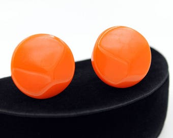 Orange Bakelite Button Earrings, Vintage Earrings