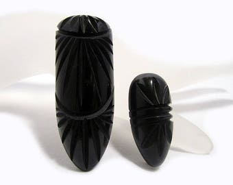 Black Bakelite Dress Clips, Carved - Set of 2, Bakelite Jewelry