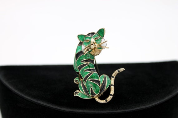 Chinese Tiger Brooch, 800 Silver, ca. 1930s - image 2