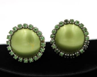 Olive Green Thermoset Earrings with Rhinestones, ca. 1950s, Vintage Earrings
